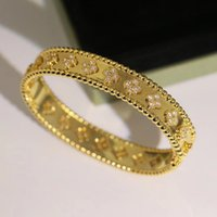 Fashion ha timbro Braccialetto di alta qualità Braccialetto a quattro foglie trifoglio 3 colori bracciali e anello 18 carati oro per le donne ragazze gioielli di San Valentino-1