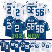 2021 NUEVO Indianapoli Mens Colt American Football Jersey 2 Carson Wentz 28 Jonathan Taylor 53 Darius Leonard 56 Quenton Nelson 51 Kwity Palede 13 T.Y. Hilton 11 Pittman Jr.