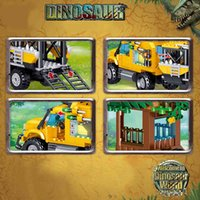 Creator Tyrannosaurus Transport Truck Model Famous Movie Jurassic World Dinosaur Building Blocks Children's Toys Birthday Gifts X0522
