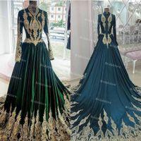 Длинные рукава арабский кафтан марокканские вечерние платья 2021 высокие шеи золотые аппликации зеленый мусульманский выпускной платья линия длина дола линии шелковый атлас официальный прием