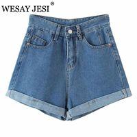 Shorts Wesay Wesay Jesi Fashion 2021 VERANO Denim High Cintura Slim Fit Casual Jeans Bolsillos Streetwear Streetwear