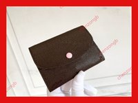 Concepteur de carte de crédit de carte de crédit portefeuille porte-monnaie porte-clés classic brun fleur lettre en relief femmes femmes femmes portefeuilles clés pounch l1