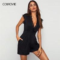 Colrovie Noir Contraste Contraste Dentelle De Profonde Plunge De Couling Jumpsuit Femmes 2020 Été Capuchon Sleeve High Taille Large Jeu Sexy PlaySuits1