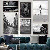 빈티지 캔버스 그림 레코드 플레이어 테이프 기타 음악 노르딕 모듈 형 포스터 벽 아트 그림 인테리어 홈 데코