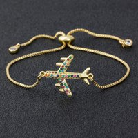 Link, Chain Arrival Copper CZ Aircraft Bracelet For Women Adjustable Charm Plane Bangle Jewelry Party Wedding Trip Gift
