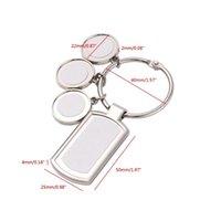 سلسلة المفاتيح Angelady 3 6 دوائر التسامي الفراغات مستطيل نقل مع حلقات مفتاح جولة معدنية للصحافة الحرارة