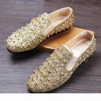 Sparkly Gold Sequined Casual Party Formal Shoes For Men Studded Rivets Mens Wedding Shoes Loafer 3 Colors