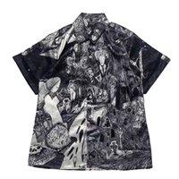Men Women 1:1 High Quality Shirt V-shaped E.R.D Sketch Graffiti Silk Short Sleeve Shirt Blouse Summer Style ERD Shirts