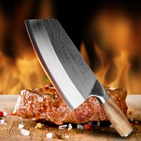 Kitchen Knife Damascus Laser Pattern Chinese Chef Stainless Steel Butcher Meat Chopping Cleaver Vegetable Cutter