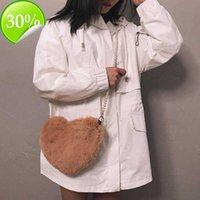 Tote Bag Designer-2021 Winter Faux Fur Heart Bag for Women Lady Handbag Shoulder Kawaii Girls Big Love Messenger Crossbody