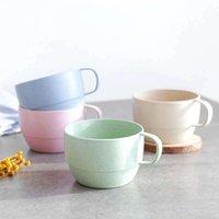 Mugs 4Pcs Set Plastic Straw Coffee Cup Couple Biodegradable Wheat FiberReusable Eco Friendly Cute Cafe Tea Milk Breakfast