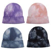 Beanies Unisex Tie-Dye Knitted Hats For Women Skullies Autumn Winte Warm Beanie Gradient Color Cuffed Short Melon Cap Men Travis Scott