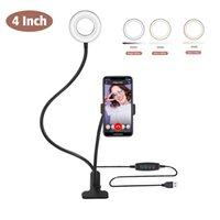 Uzun Kol Selfie Evrensel Tutucu 48LEDS LED Halka Doldurma Işık USB Elektrikli Kamera Cep Telefonu Klip Standı Canlı Akış