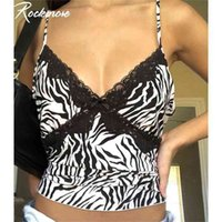 Rockmore Patchwork Lace Sexy Low Cut Chander Mulheres Zebra Imprimir Spaghetti Strap Crop Top Streetwear Cami V-Pescoço Clube Party Y2K 210407