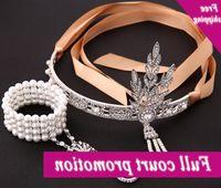 Vintage Diamond Crystal Feuilles Tassel Couronne Satin Satiné Bandeau de mariée Bandeau Bijoux Cheveux avec Bracelets de charme perle