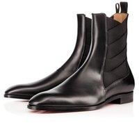 Süper Kalite Marka Kırmızı Alt Tasarımcılar erkek Boot Briannans Knight Botlar Hakiki Deri + Elastik Flats Deri Ayakkabı Beyefendi Düğün Bölümü