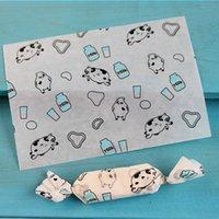 200 pçs / lote doces wrapper fundo branco voador vaca caseiro À prova de óculos à prova d'água torcendo papel de cera nougat papel de embrulho