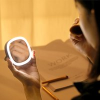 LED Makeup Mini Light Stand Desktop Portable Small Vanity Cosmetic Mirror Bracket Standable Folding With Storage Bag