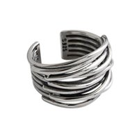 Cluster Rings Vintage Retro Punk Authentic S925 Sterling Silver FINE Jewelry Multi-layers Line Cross Twine Band Long Wider Adjust TLJ600