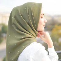 Scarves 110x110cm Cotton Linen Square Malaysia Headscarf Women's Muslim Hijab Solid Color Turban Wrap Full Diamonds