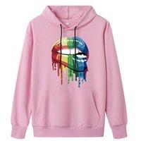 2020 Autumn Women Hoodies Casual Lip Print Rainbow Pullover Sweatshirt Fashion Loose Pocket Solid Color Sweatshirt Women