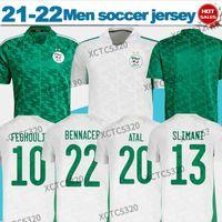 Erkekler2021 Cezayir Ulus Takımı Futbol Forması Hayranları Ev Beyaz Uzaktan Yeşil Mahrez Feghouli Bennacer ATAL Erkekler + Çocuklar Maillot de Foot Setleri