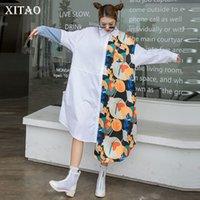 Tide Plus Size Irregular Dress Print Pattern Women Clothes Spring Fashion Polo Collar Long Sleeve Dresses ZY5940 210426