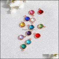 Charms Risultati Componenti JewelryFashion Crystal Charm Ciondolo Pendente in metallo Rosa in oro rosa 12 Birthstone Strass Round 8.7mm per NEC