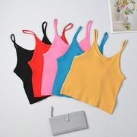 Women's Tanks & Camis Women Tops Knitting Camisoles Female Solid Street Camisole Ladies With Straps Spaghetti Crop