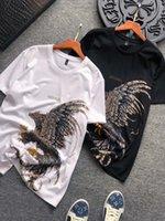 T-shirt hommes d'été personnalité Eagle Imprimer Casual col rond Slim manches courtes