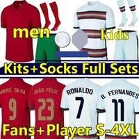 Ronaldo Futbol Formaları Portogallo Euro2020 Ulusal Takım B.Fernandes Joao Felix Diogo J. RAFA Ruben Dias Neves Bernardo Futbol Forması 2021 Erkekler Çocuklar Kiti + Çorap Üniforma