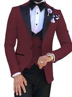 Handsome Groomsmen One Button Groom Tuxedos Peak Lapel Men Suits Wedding Prom Dinner Man Blazer (Jacket+Pants+Tie+Vest) w587