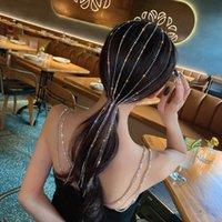Shine Full Rhinestone Headband for Women Long Tassel Crystal HairClip Wedding Party Hair Accessories Jewelry