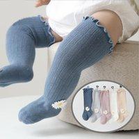 Princesa doce meninas meias outono inverno 3d margarida bordado kids knee knee alto meias aconchegante beber algodão botas meias para crianças