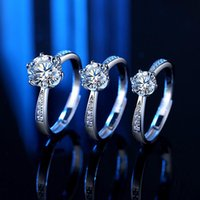 Moissanite Diamond Ring Open Female 925 Sterling Silver 1-2carat 60 Points Six Claw Simulation Luxury Jewelry For Women Wedding Rings