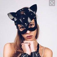 Fashion Party Black Bondage Cat Ear Cosplay Masquerade Mask Halloween Adults Decoration Face Protective Mascarillas Cycling Caps & Mas Masks