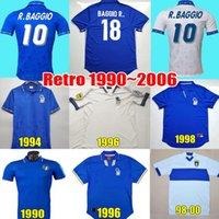 Retro Itália Jersey 1982 1990 1994 1996 1997 1998 Baggio R. Buffon Maldini Vieri Rossi Totti Nesta Albertini Del Pier Camisa de Futebol Vintage Maglia