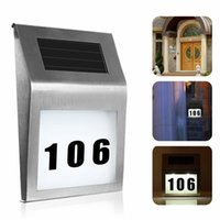 Solar Lamps Led Light Outdoor Wall Doorplate Lamp Stainless Numbers With Backlight Apartment House Porch
