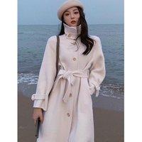 Women's Wool & Blends Sandy Lamb Autumn winter Gentle Wind Double Coat Female Temperament Show Thin Black Long Plaid