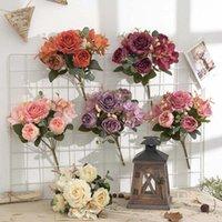 Flores decorativas guirnaldas artificiales falsas hortensias ramo decoración faux plástico camelia arreglos flor decoración de la boda decoración de la mesa