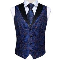 الرجال سترات رجل سترة التعادل مجموعة الأزرق الحرير الأزهار دعوى الخامس ربطة العنق ل حفل زفاف حزب طبيعة صدرية أوم عارضة الأكمام سترة