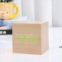 디지털 알람 시계 나무 led 빛 다기능 음성 제어 현대 큐브 홈 사무실 여행 날짜 HWD10615