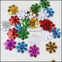Decorations Festive Party Supplies Home & Garden30Mm Christmas Snowflake Felt Padded Appliques For Headwear Hairpin Crafts Wedding Decoratio