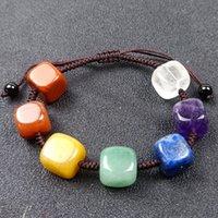7 Yoga Crystal Stones Healing Handmade Braided Rope Charm Bracelets Original Style For Women Girl Adjustable Punk Beaded Jewelry