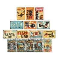 Vintage Surf Pension Summer Summer Tiki Bar Tin Enseigne Ancien Bar à plage rouillé Rétro Panneau rouillé Panneaux en métal 20x30cm