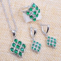 Earrings & Necklace Russian Style For Women Jewelry Sets Special Green Crystal Cubic Zircon Ring Pendant 2021