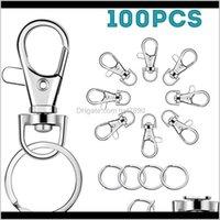 Aessies de modaKimter Clases giratorios de cordón de cordón de cordón de cordón con anillos clave Ganchos de clips Cierre de garra de langosta para llaveros Joyas de joyería DIY Crafts Q389FZ