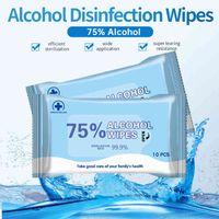180mm * 140mm alcool wipe 10pcs portatile salviette bagnate 75% etanolo antibatterico disinfettante depe per home office in magazzino