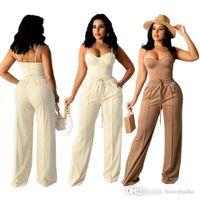 Fashionable Women Two Piece Pants Suspender Vest Tracksuits Suit With Drawstring Stereo Wide Leg Suit S-XL
