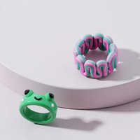 Wedding Rings 2pcs Set Korean Cartoon Frog Soft Pottery Contrast-Color Twisted Colorful Resin For Women Summer Party Jewelry Gifts